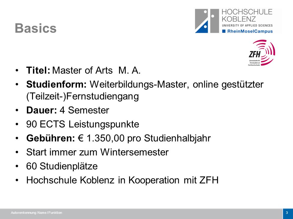 Basics Titel: Master of Arts M. A.