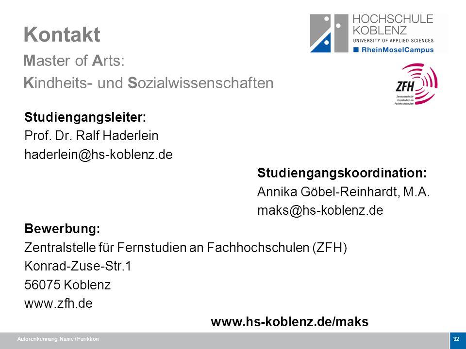 Kontakt Master of Arts: Kindheits- und Sozialwissenschaften