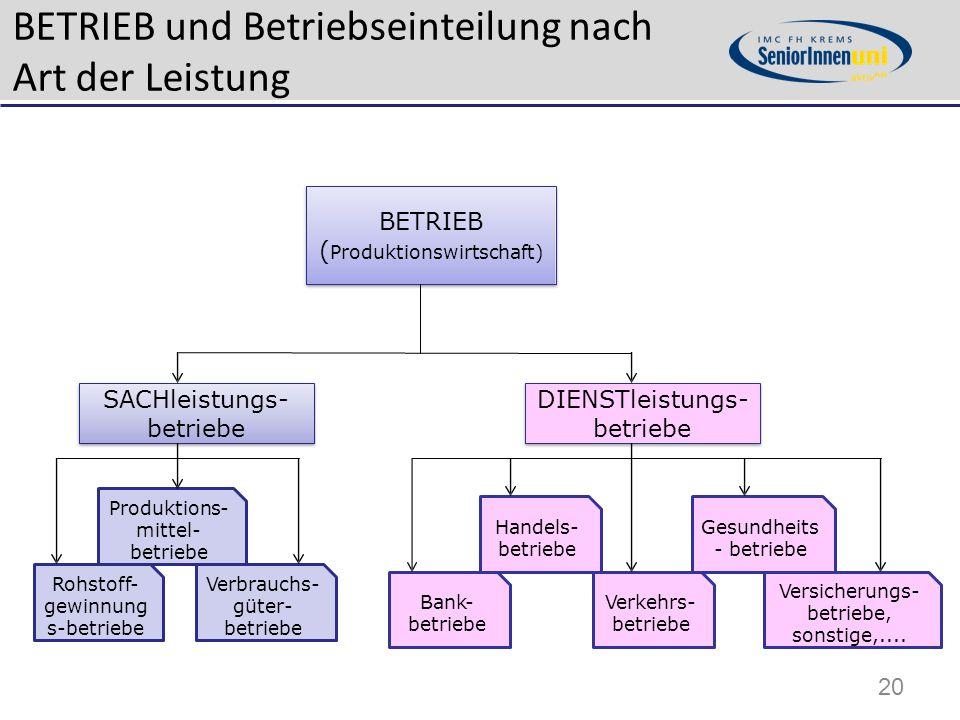 BETRIEB und Betriebseinteilung nach Art der Leistung