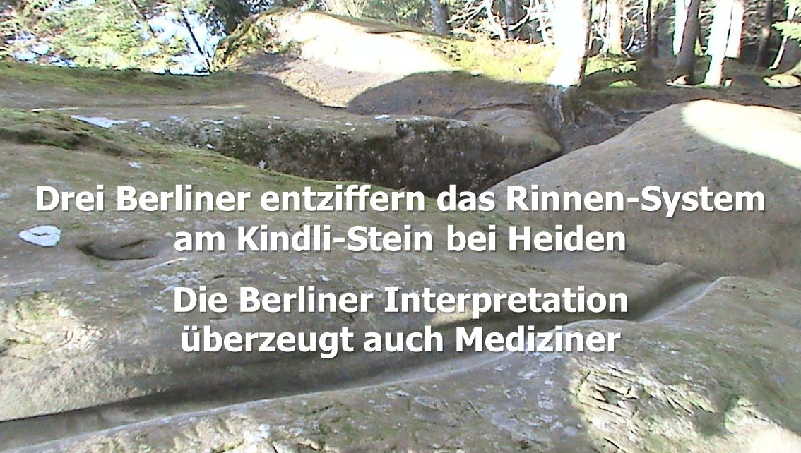 Drei Berliner entziffern das Rinnen-System am Kindli-Stein bei Heiden