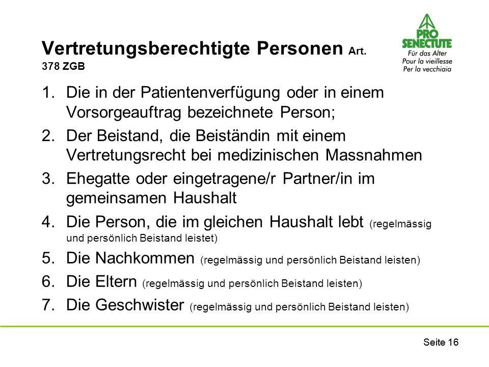 Vertretungsberechtigte Personen Art. 378 ZGB