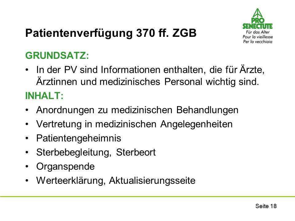 Patientenverfügung 370 ff. ZGB