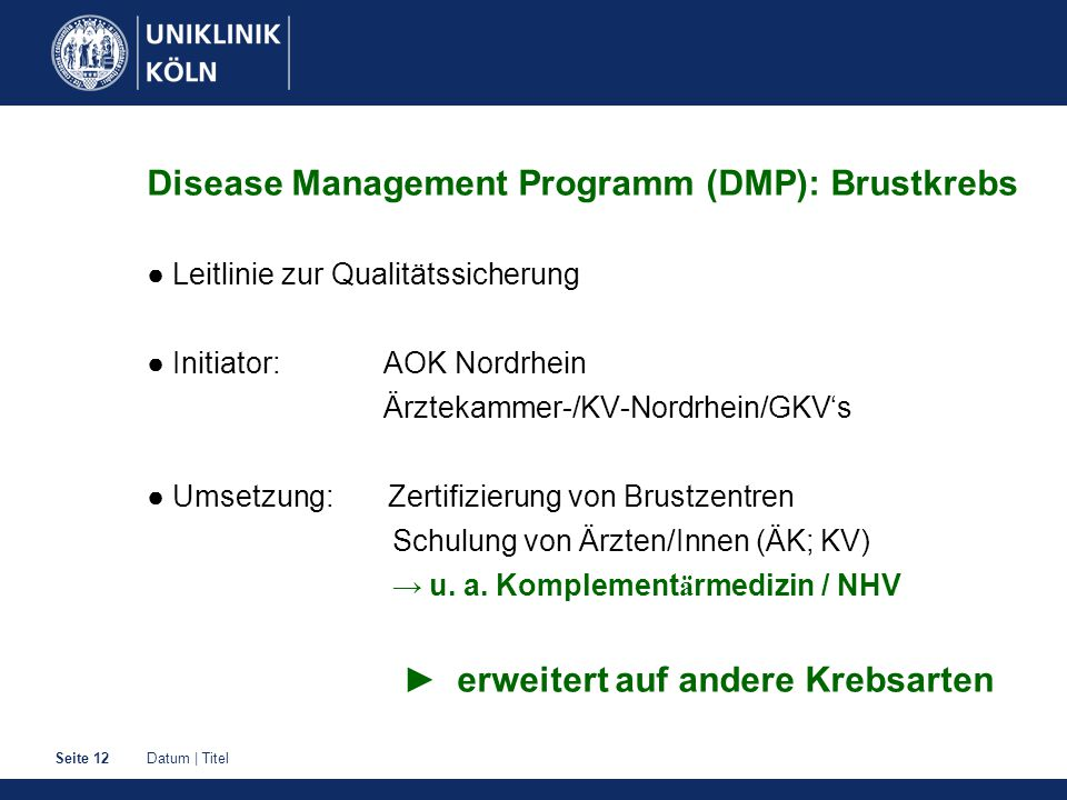 Disease Management Programm (DMP): Brustkrebs