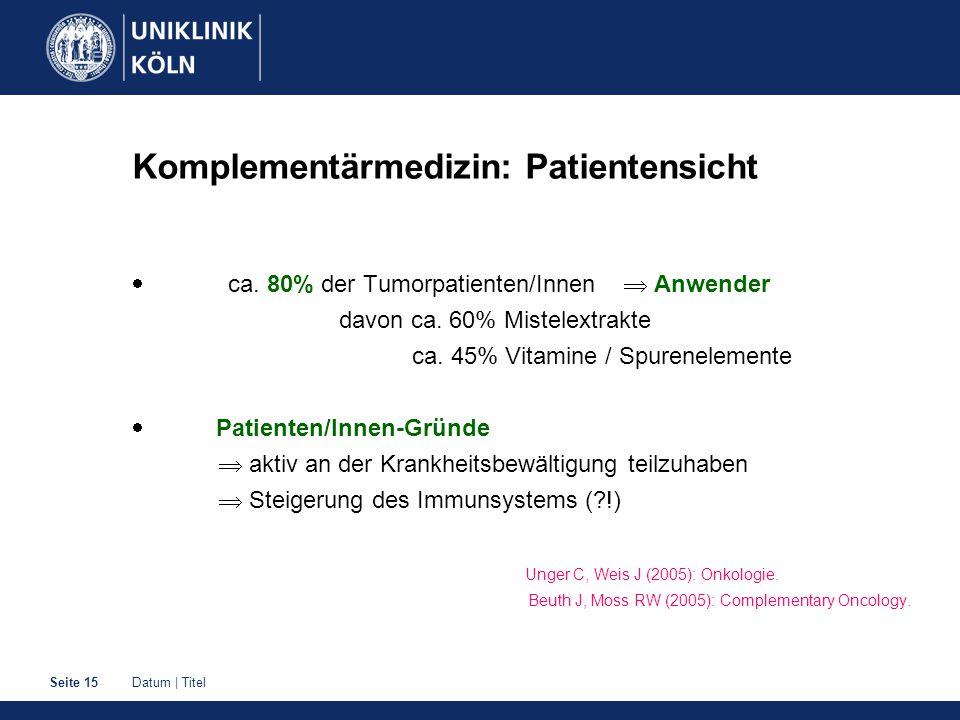 Komplementärmedizin: Patientensicht