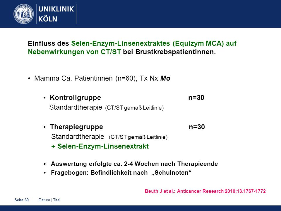 • Mamma Ca. Patientinnen (n=60); Tx Nx Mo • Kontrollgruppe n=30