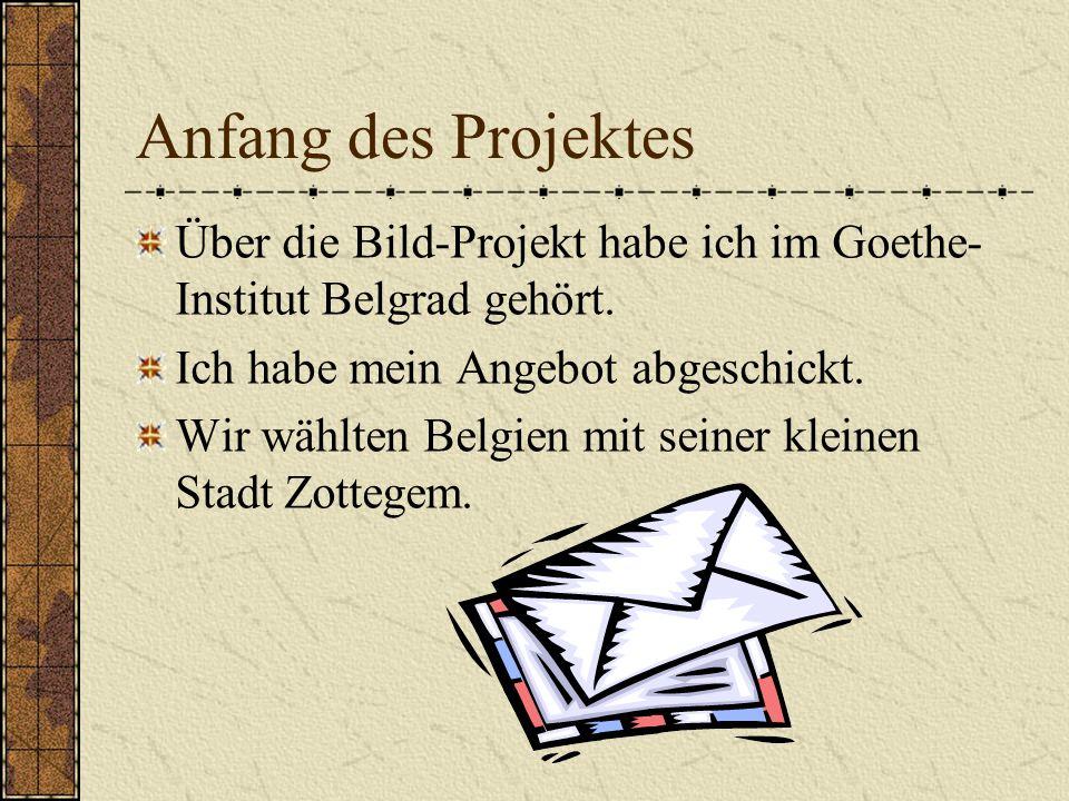 Anfang des Projektes Über die Bild-Projekt habe ich im Goethe-Institut Belgrad gehört. Ich habe mein Angebot abgeschickt.