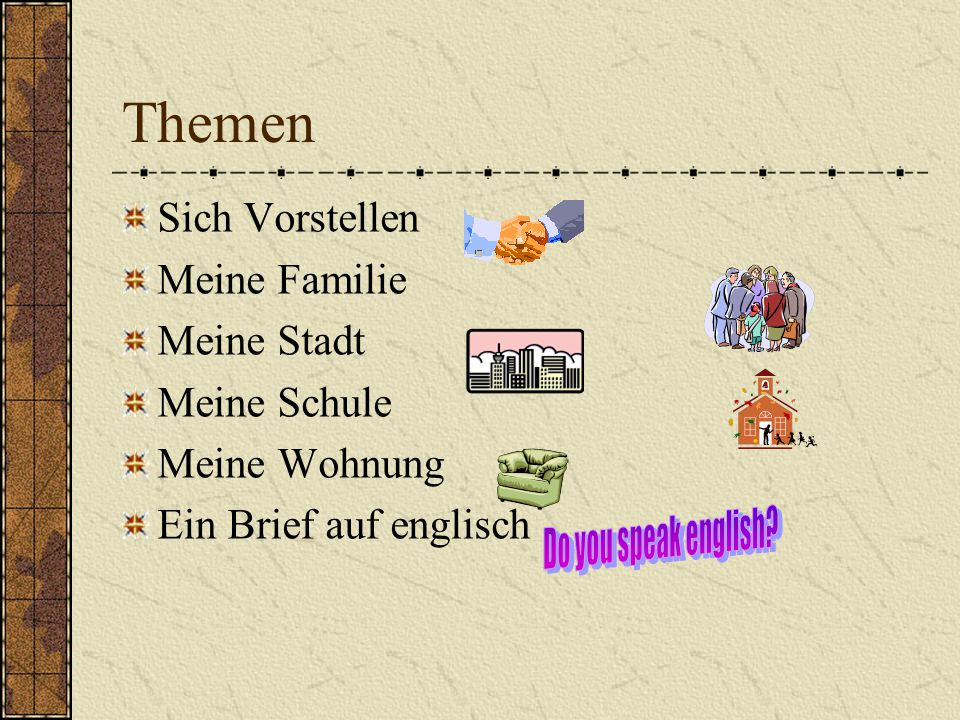 Themen Do you speak english Sich Vorstellen Meine Familie Meine Stadt