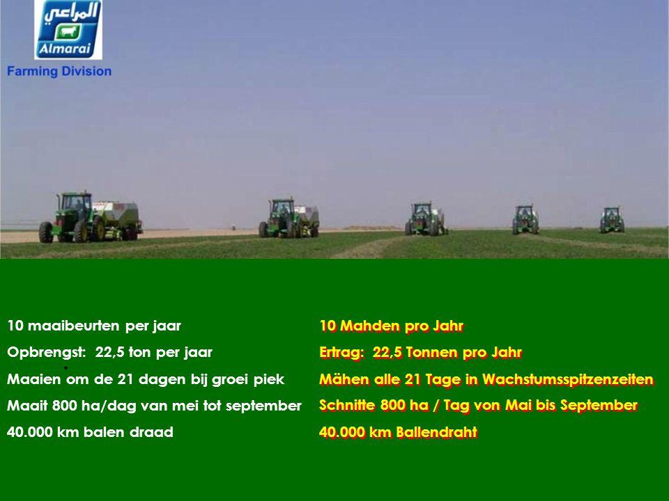 10 maaibeurten per jaar Opbrengst: 22,5 ton per jaar. Maaien om de 21 dagen bij groei piek. Maait 800 ha/dag van mei tot september.