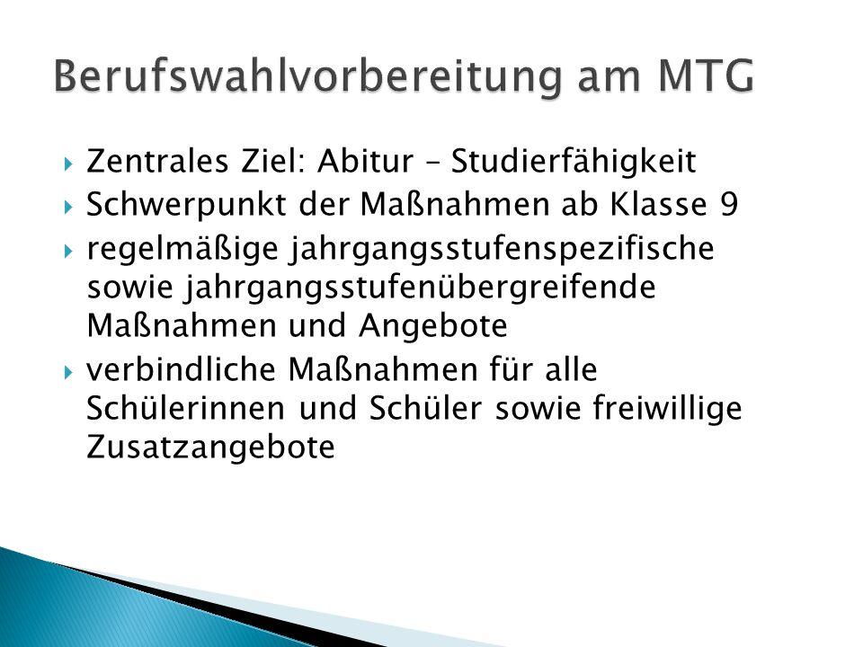Berufswahlvorbereitung am MTG