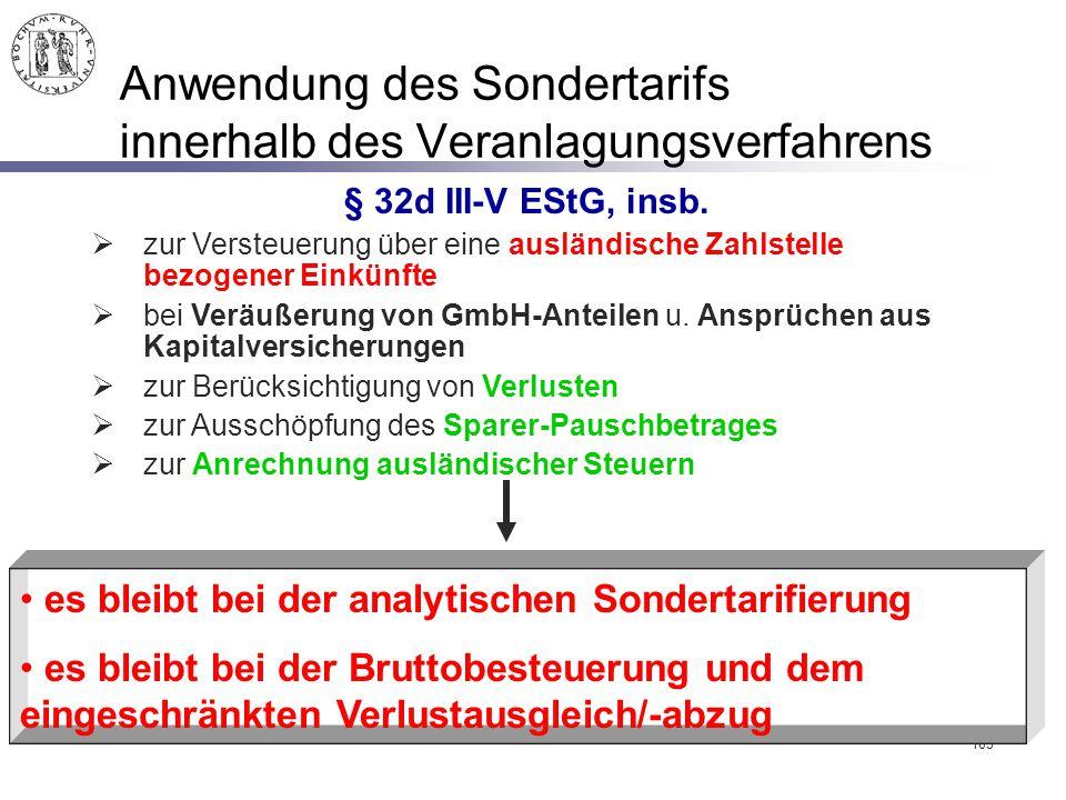 Anwendung des Sondertarifs innerhalb des Veranlagungsverfahrens
