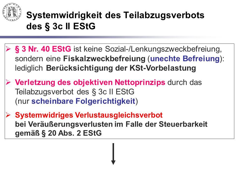 Systemwidrigkeit des Teilabzugsverbots des § 3c II EStG