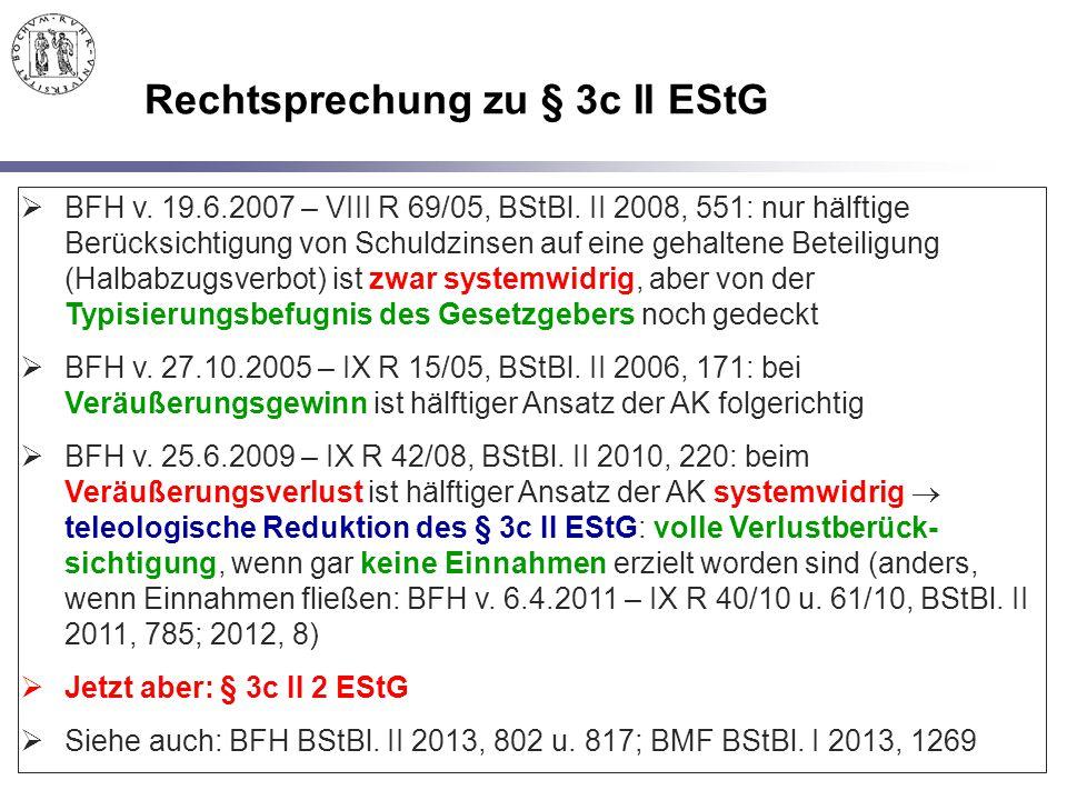 Rechtsprechung zu § 3c II EStG
