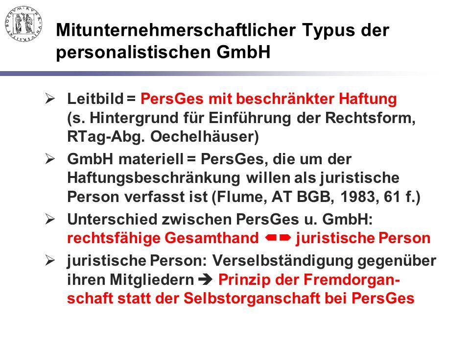 Mitunternehmerschaftlicher Typus der personalistischen GmbH