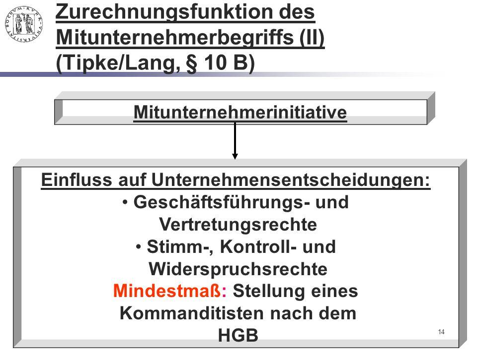 Zurechnungsfunktion des Mitunternehmerbegriffs (II) (Tipke/Lang, § 10 B)