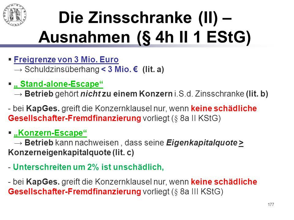 Die Zinsschranke (II) – Ausnahmen (§ 4h II 1 EStG)