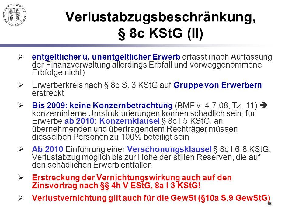 Verlustabzugsbeschränkung, § 8c KStG (II)