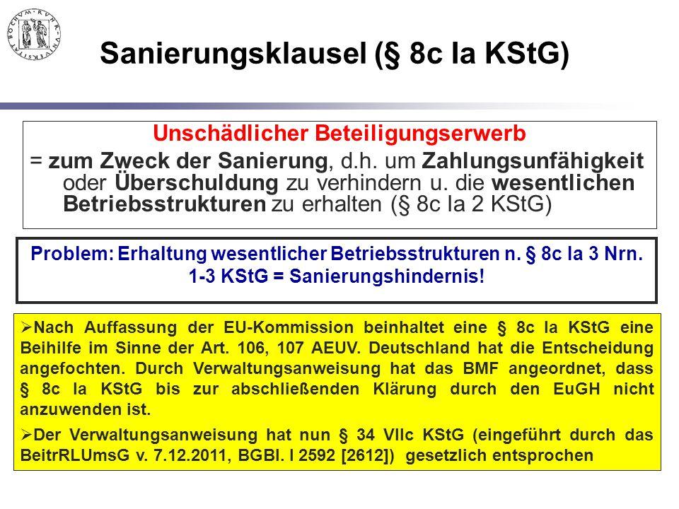 Sanierungsklausel (§ 8c Ia KStG)