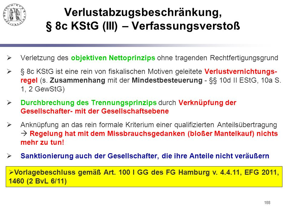 Verlustabzugsbeschränkung, § 8c KStG (III) – Verfassungsverstoß