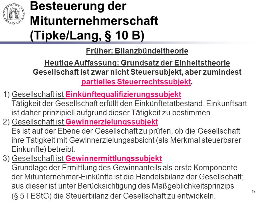Besteuerung der Mitunternehmerschaft (Tipke/Lang, § 10 B)