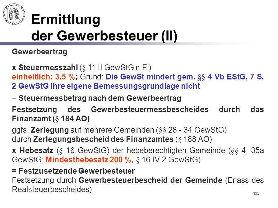 Ermittlung der Gewerbesteuer (II)