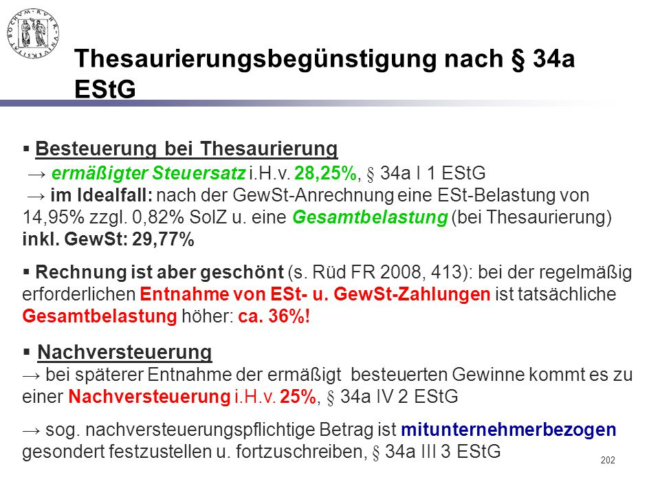 Thesaurierungsbegünstigung nach § 34a EStG
