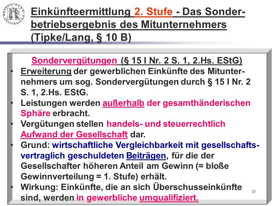 Sondervergütungen (§ 15 I Nr. 2 S. 1, 2.Hs. EStG)