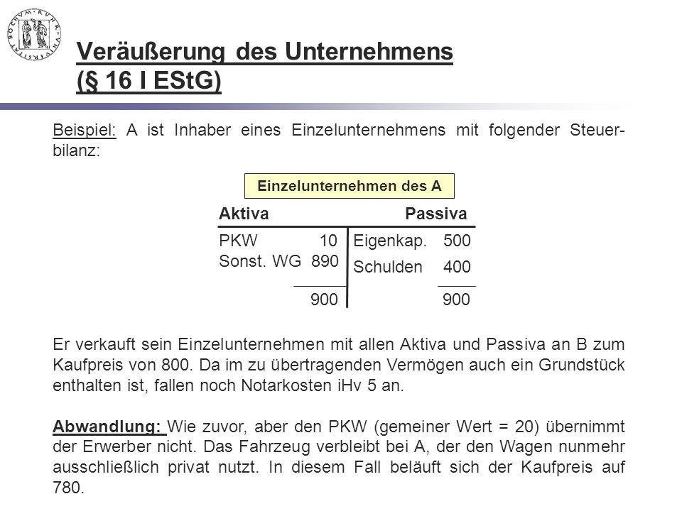 Veräußerung des Unternehmens (§ 16 I EStG)