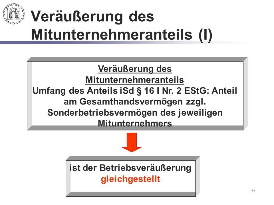 Veräußerung des Mitunternehmeranteils (I)