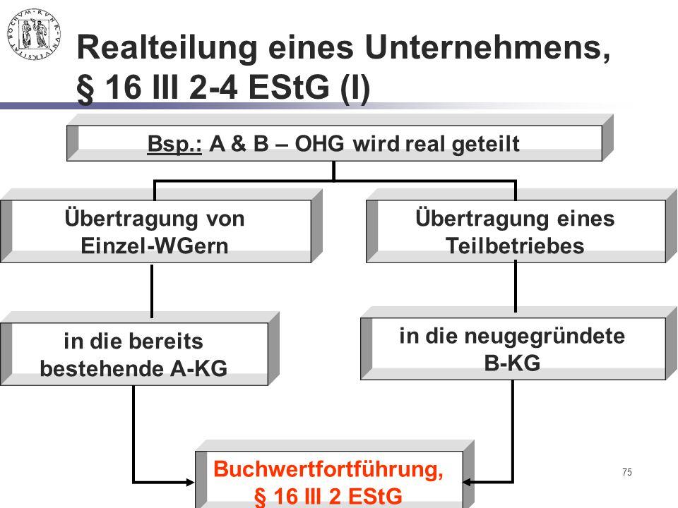 Realteilung eines Unternehmens, § 16 III 2-4 EStG (I)
