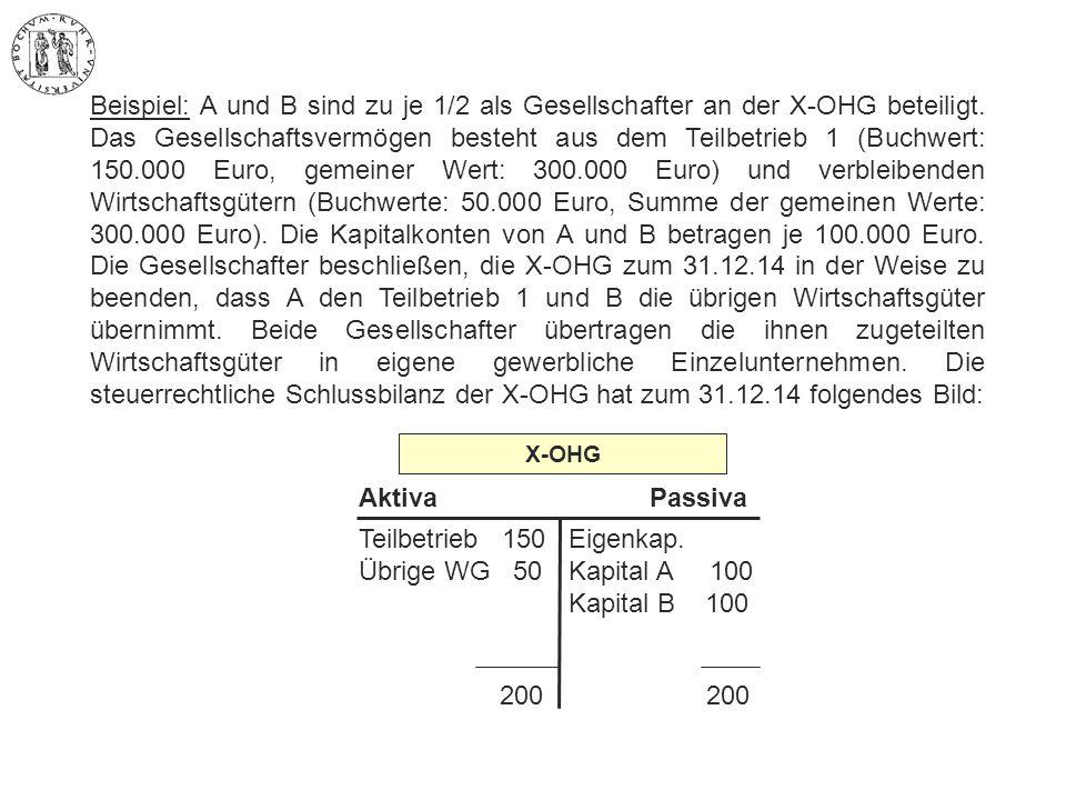 Beispiel: A und B sind zu je 1/2 als Gesellschafter an der X-OHG beteiligt. Das Gesellschaftsvermögen besteht aus dem Teilbetrieb 1 (Buchwert: 150.000 Euro, gemeiner Wert: 300.000 Euro) und verbleibenden Wirtschaftsgütern (Buchwerte: 50.000 Euro, Summe der gemeinen Werte: 300.000 Euro). Die Kapitalkonten von A und B betragen je 100.000 Euro. Die Gesellschafter beschließen, die X-OHG zum 31.12.14 in der Weise zu beenden, dass A den Teilbetrieb 1 und B die übrigen Wirtschaftsgüter übernimmt. Beide Gesellschafter übertragen die ihnen zugeteilten Wirtschaftsgüter in eigene gewerbliche Einzelunternehmen. Die steuerrechtliche Schlussbilanz der X-OHG hat zum 31.12.14 folgendes Bild: