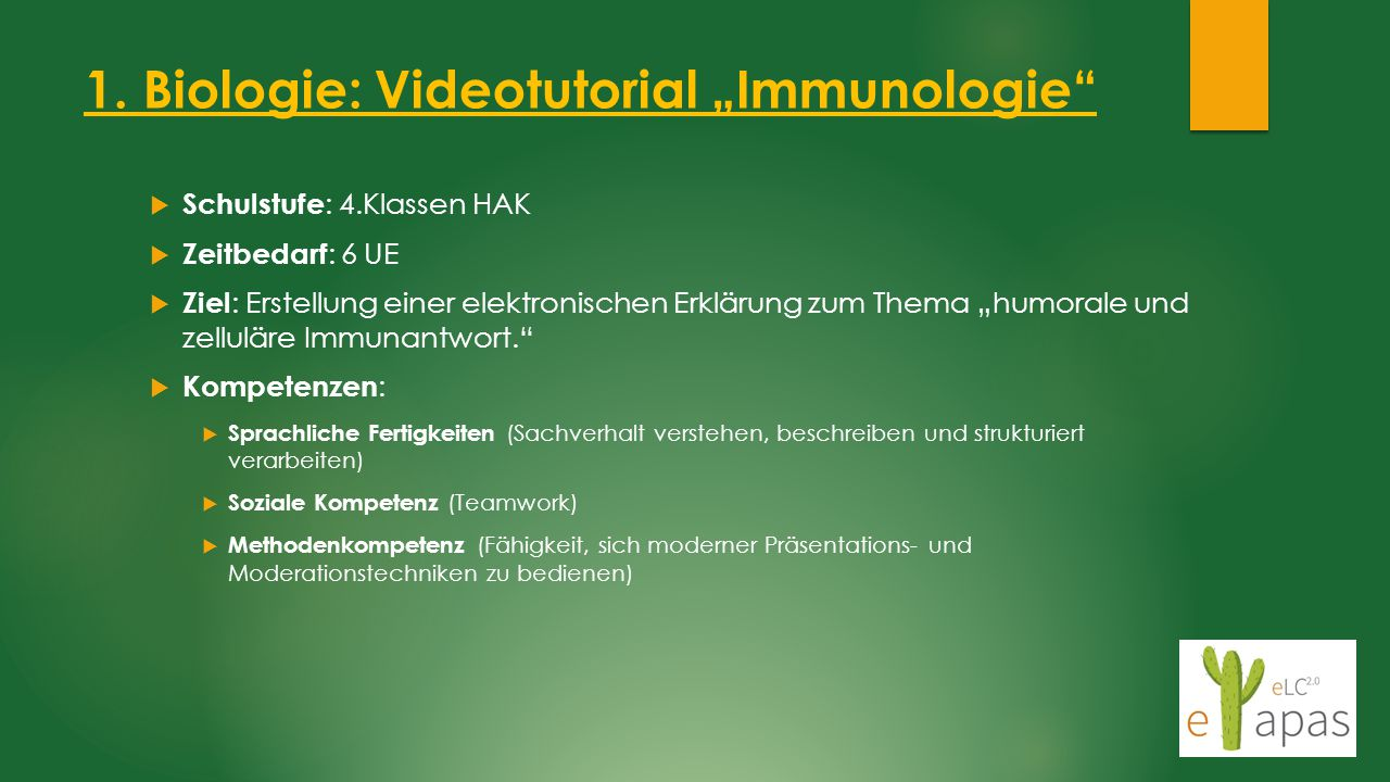 "1. Biologie: Videotutorial ""Immunologie"