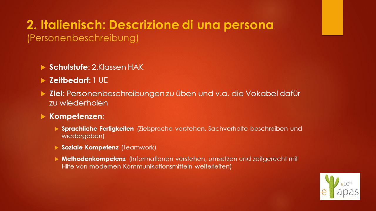 2. Italienisch: Descrizione di una persona (Personenbeschreibung)