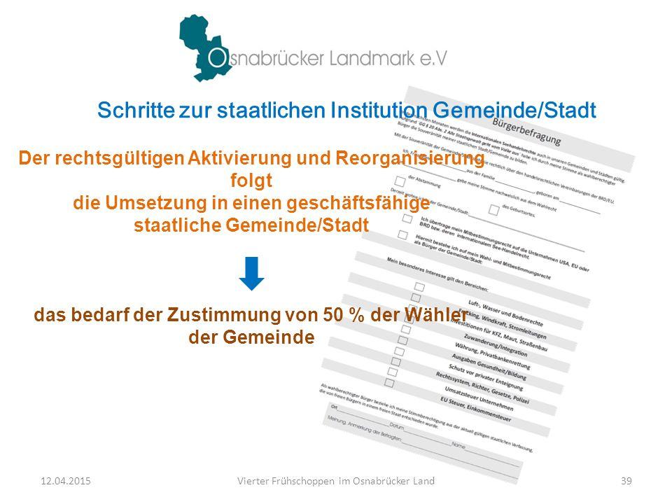Schritte zur staatlichen Institution Gemeinde/Stadt