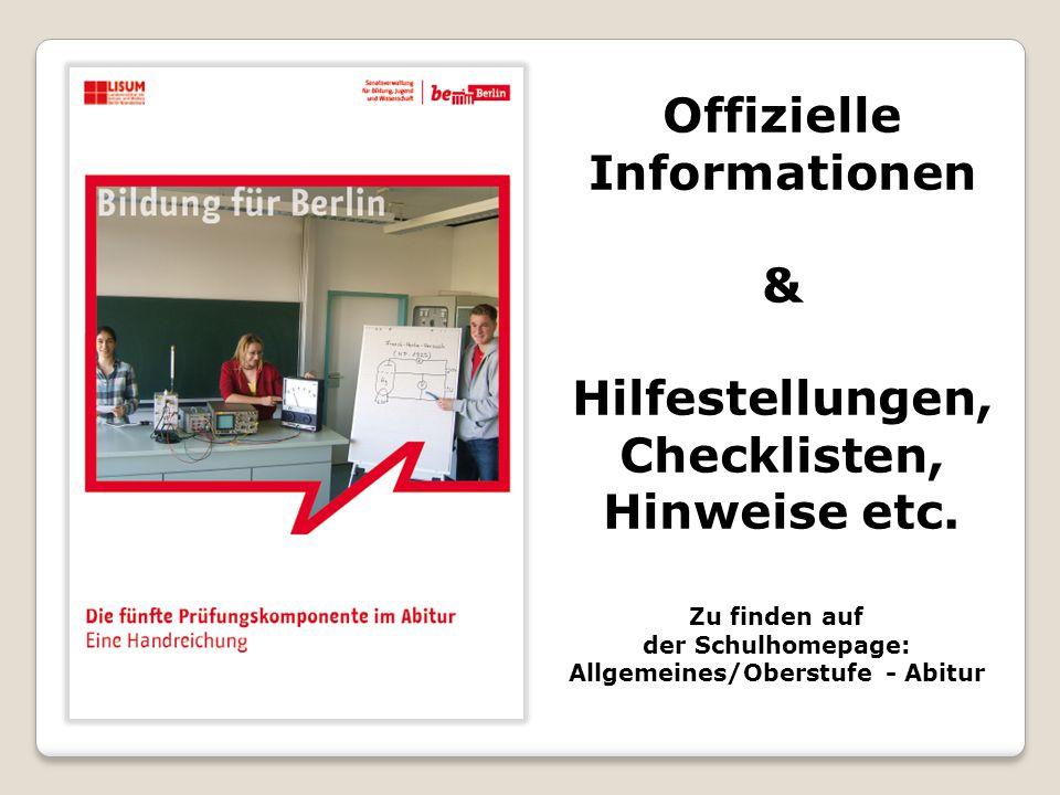 Offizielle Informationen & Hilfestellungen, Checklisten, Hinweise etc.