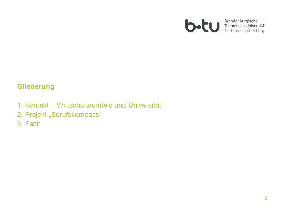 """Gliederung Kontext – Wirtschaftsumfeld und Universität Projekt """"Berufskompass Fazit"""