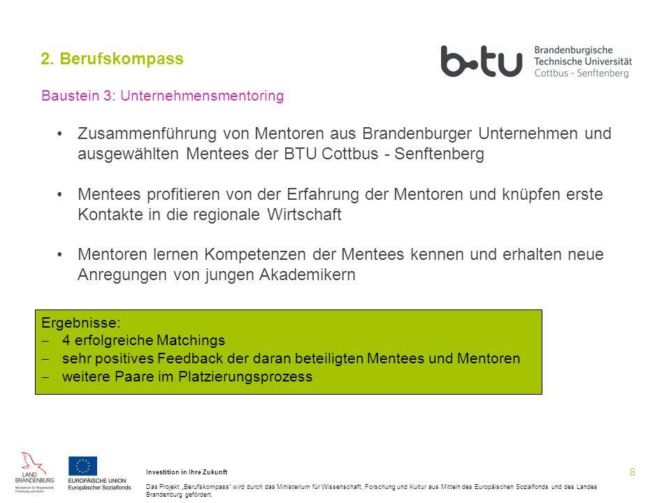 2. Berufskompass Baustein 3: Unternehmensmentoring.