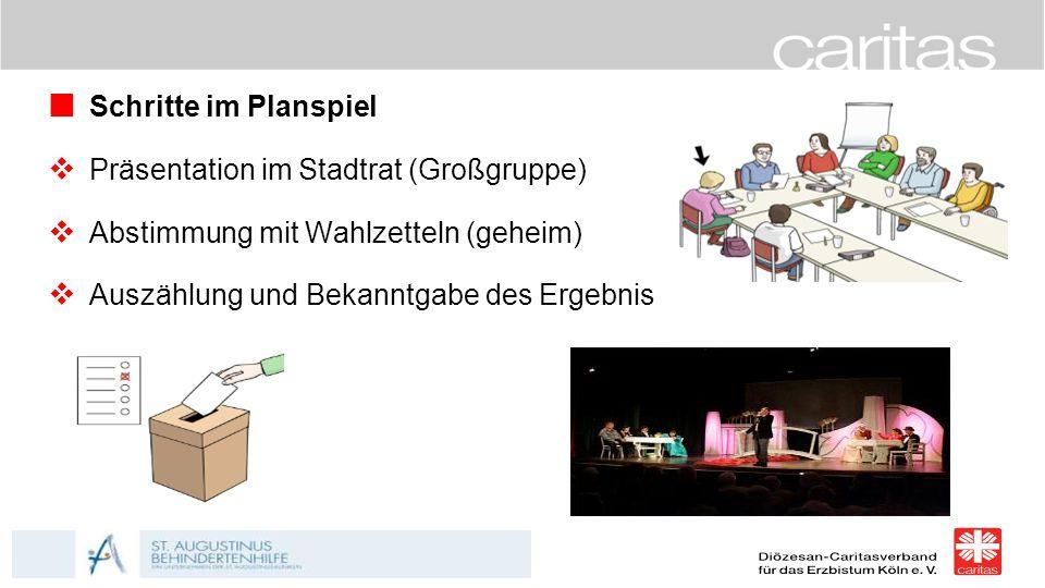 Schritte im Planspiel Präsentation im Stadtrat (Großgruppe) Abstimmung mit Wahlzetteln (geheim) Auszählung und Bekanntgabe des Ergebnis.