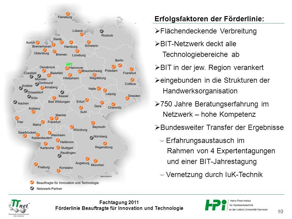 Erfolgsfaktoren der Förderlinie: Flächendeckende Verbreitung