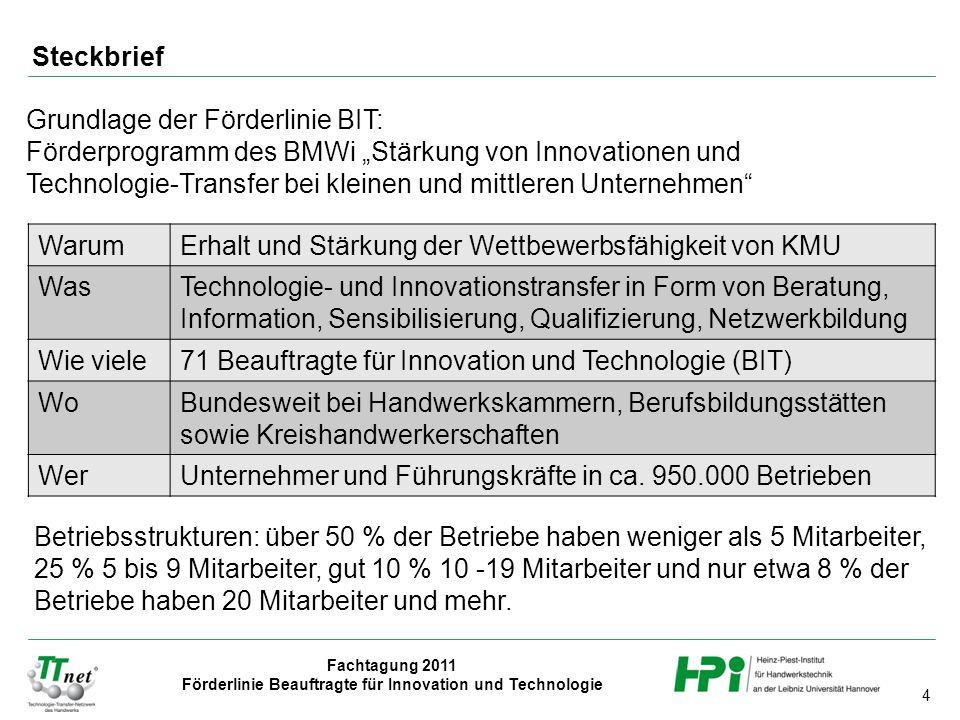 """Steckbrief Grundlage der Förderlinie BIT: Förderprogramm des BMWi """"Stärkung von Innovationen und."""