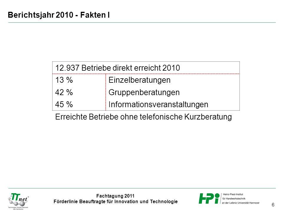 Berichtsjahr 2010 - Fakten I