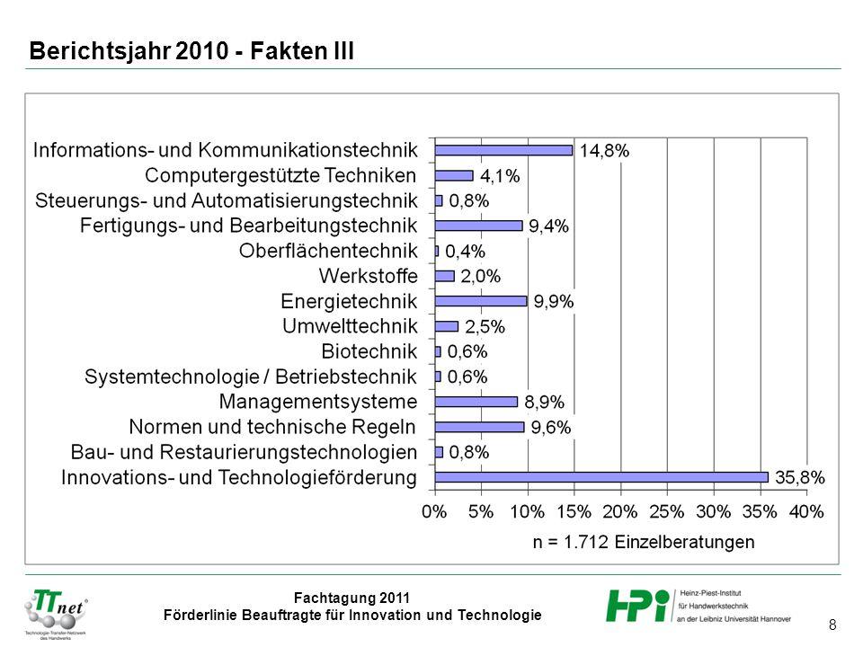 Berichtsjahr 2010 - Fakten III