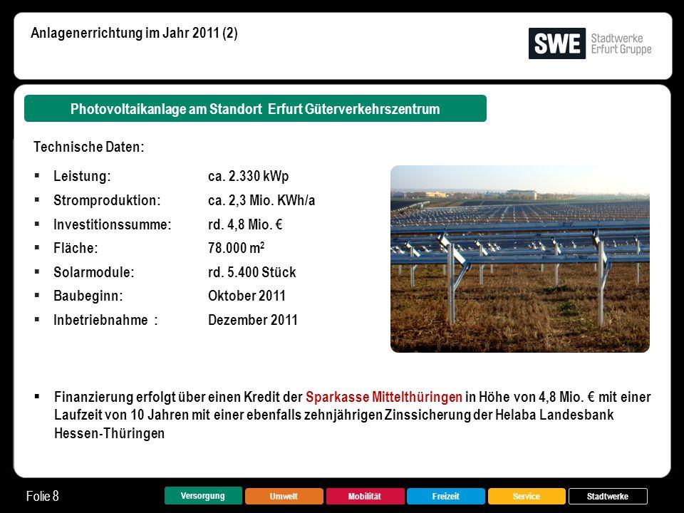 Photovoltaikanlage am Standort Erfurt Güterverkehrszentrum