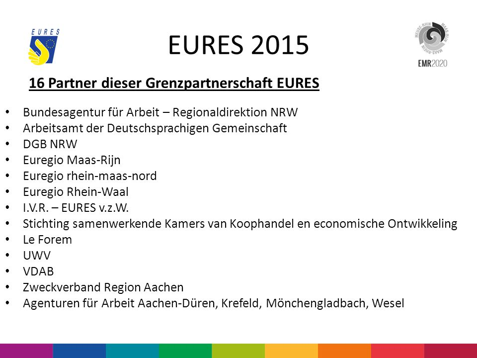 EURES 2015 16 Partner dieser Grenzpartnerschaft EURES