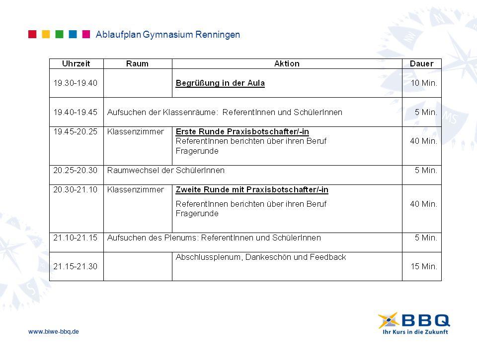 Ablaufplan Gymnasium Renningen