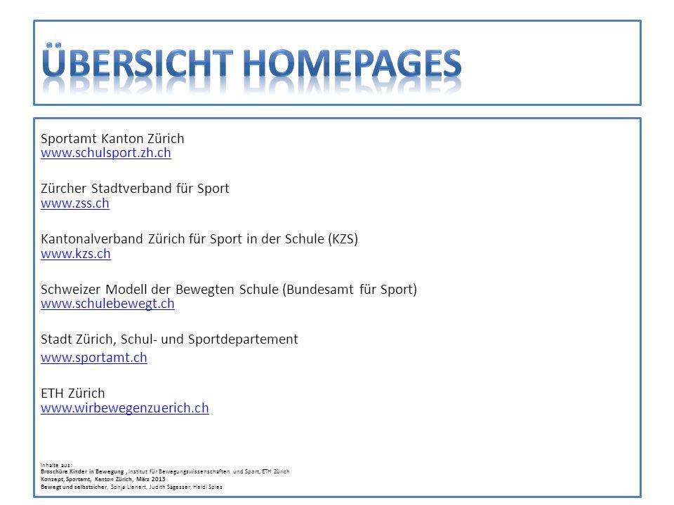 Übersicht homepages Sportamt Kanton Zürich www.schulsport.zh.ch