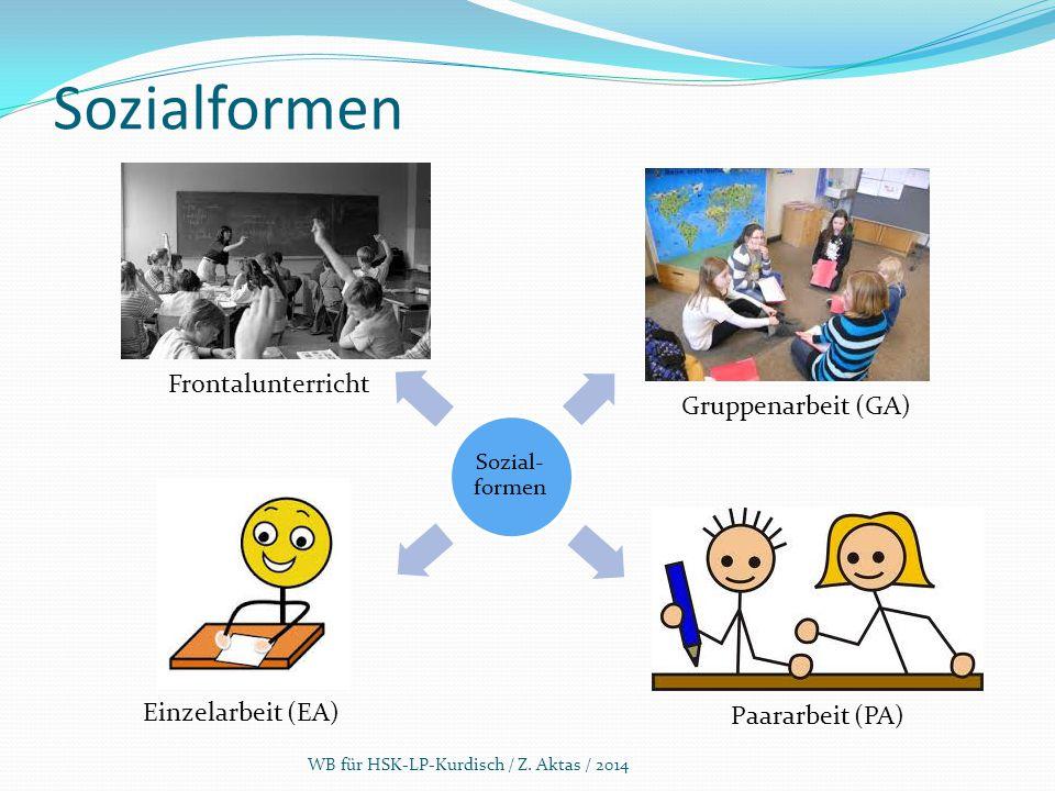 Sozialformen Frontalunterricht Gruppenarbeit (GA) Einzelarbeit (EA)