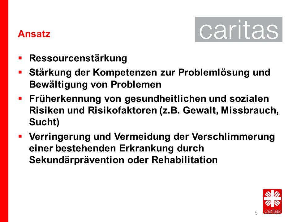 Ansatz Ressourcenstärkung. Stärkung der Kompetenzen zur Problemlösung und Bewältigung von Problemen.