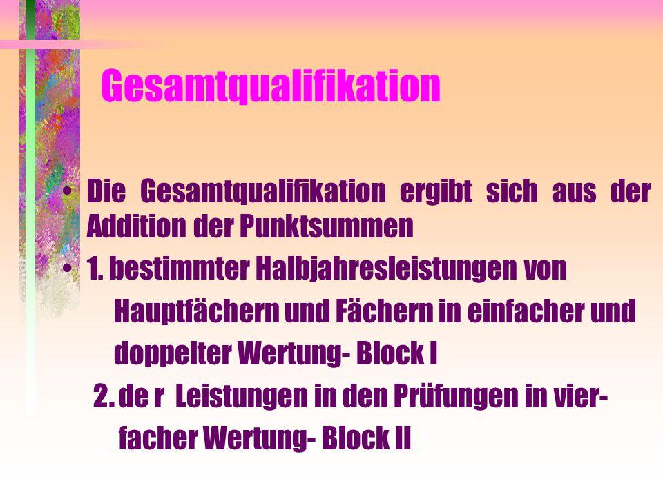 Gesamtqualifikation Die Gesamtqualifikation ergibt sich aus der Addition der Punktsummen. 1. bestimmter Halbjahresleistungen von.