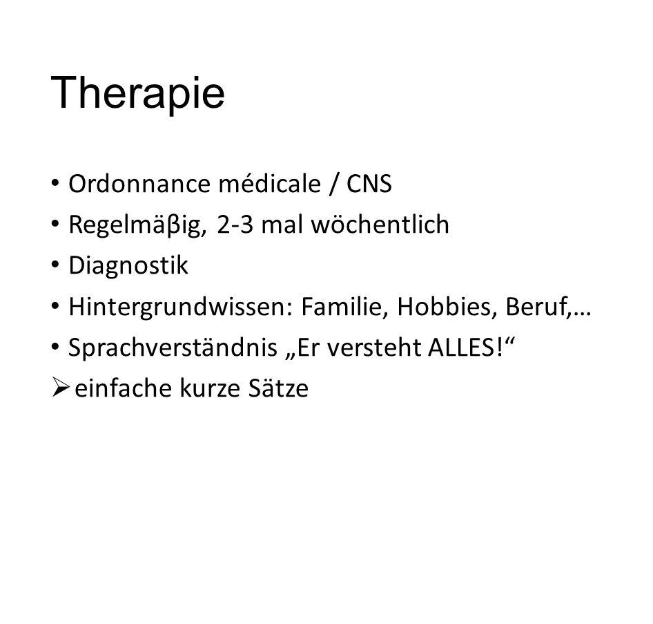 Therapie Ordonnance médicale / CNS Regelmäβig, 2-3 mal wöchentlich