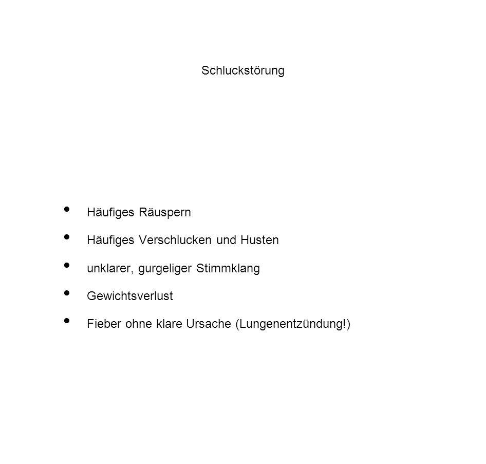 Schluckstörung Häufiges Räuspern. Häufiges Verschlucken und Husten. unklarer, gurgeliger Stimmklang.